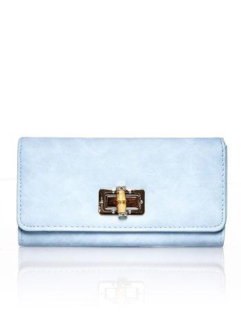 Niebieski fakturowany portfel ze stylizowanym zapięciem                                   zdj.                                  1