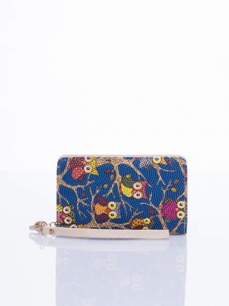 Niebieski mini portfel w sówki