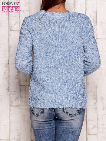 Niebieski otwarty włochaty sweter                                   zdj.                                  4