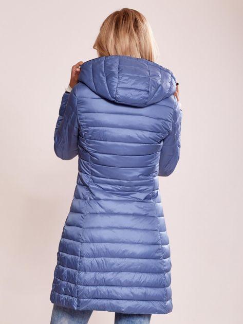 1baf08174bf76e Niebieski pikowany płaszcz z odpinanym kapturem - Kurtka przejściowa ...