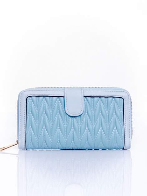 Niebieski pikowany portfel ze złotym suwakiem