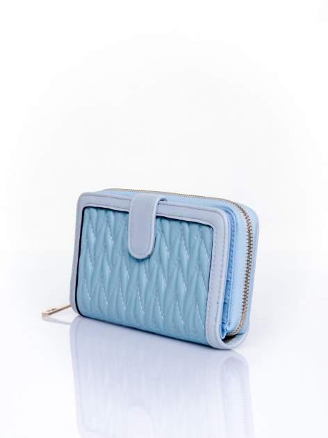 Niebieski pikowany portfel ze złotym suwakiem                                  zdj.                                  3