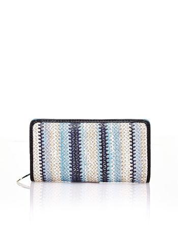 Niebieski pleciony portfel w pionowe granatowe paski