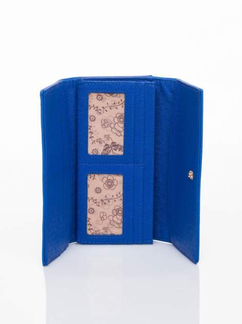 Niebieski portfel z ażurowaniem i plecionką                                  zdj.                                  4