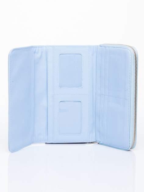 Niebieski portfel z dżetami i ozdobnym zapięciem                                  zdj.                                  4