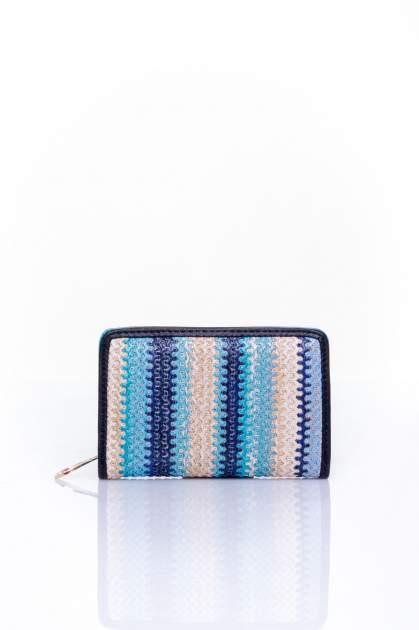 Niebieski portfel z granatowym plecionkowym wykończeniem
