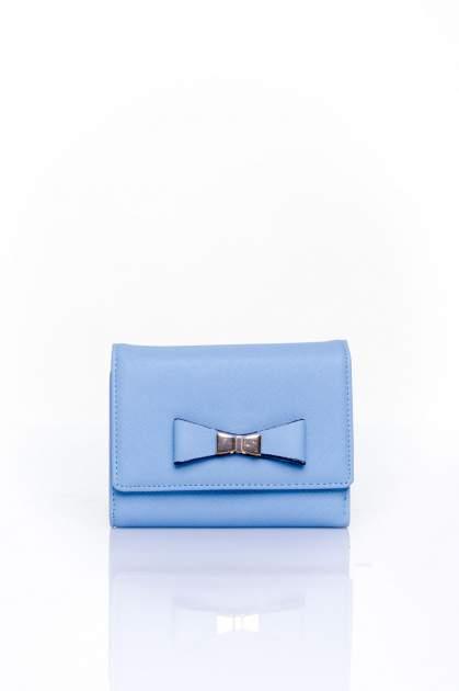 Niebieski portfel z kokardką