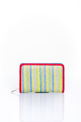 Niebieski portfel z plecionkowym wykończeniem