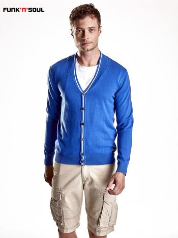 Niebieski sweter męski na guziki Funk n Soul                                   zdj.                                  2