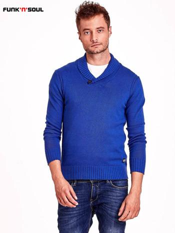 Niebieski sweter męski z kołnierzykiem FUNK N SOUL                                  zdj.                                  2