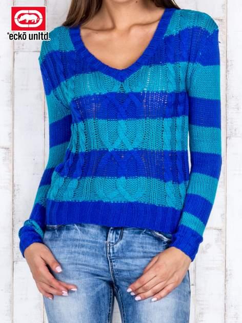 Niebieski sweter w paski                                   zdj.                                  1