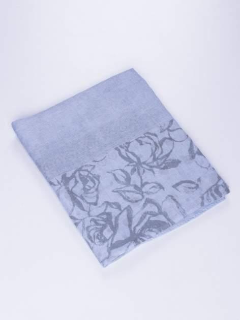 Niebieski szal w orientalny wzór, kropki i kwiaty                                  zdj.                                  2