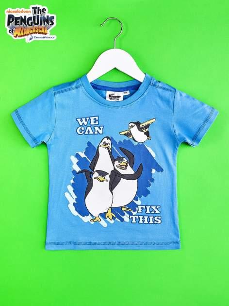 Niebieski t-shirt chłopięcy PINGWINY Z MADAGASKARU                                  zdj.                                  1