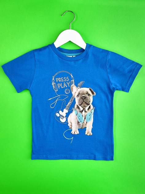 Niebieski t-shirt chłopięcy ze szczeniaczkiem