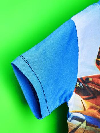 Niebieski t-shirt dziecięcy z nadrukiem SAMOLOTY                                  zdj.                                  6
