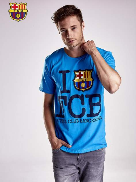 Niebieski t-shirt męski FC BARCELONA                                  zdj.                                  1