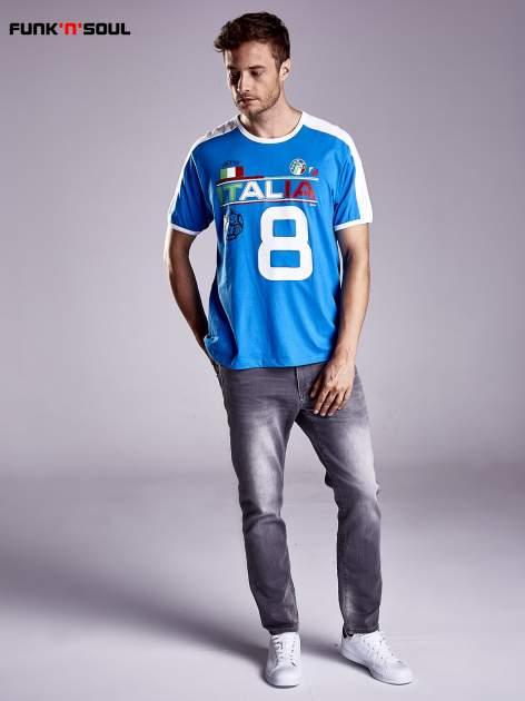 Niebieski t-shirt męski z napisem ITALIA Funk n Soul                                  zdj.                                  4