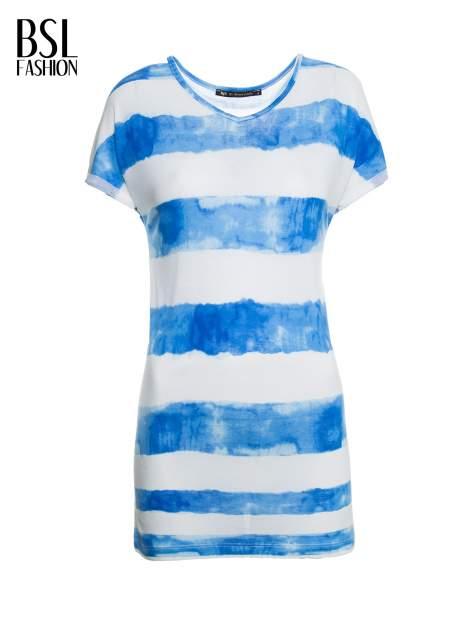 Niebieski t-shirt w paski tie-dye                                  zdj.                                  2
