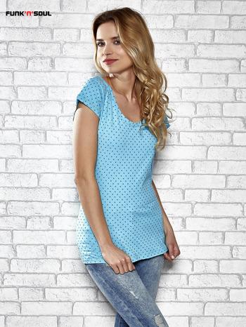 Niebieski t-shirt z kokardą na ramieniu Funk n Soul                                  zdj.                                  3