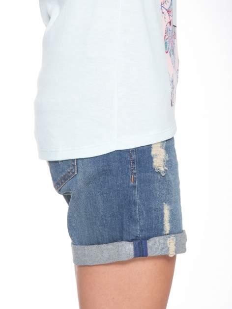 Niebieski t-shirt z nadrukiem PASSION                                  zdj.                                  8