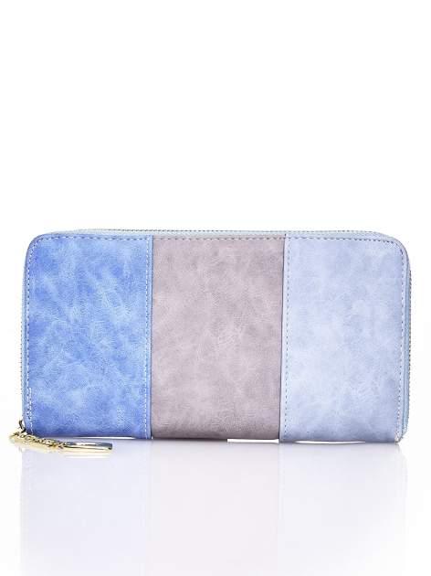Niebieski trójkolorowy portfel z uchwytem