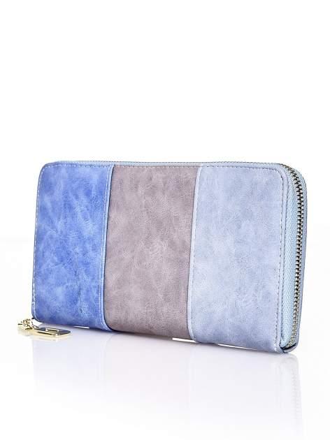 Niebieski trójkolorowy portfel z uchwytem                                  zdj.                                  2