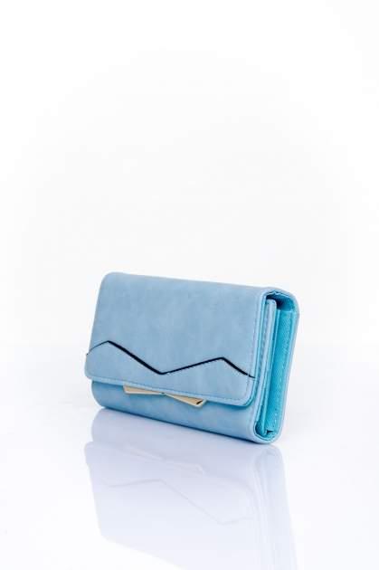 Niebieski zamszowy portfel z geometrycznym motywem                                  zdj.                                  3