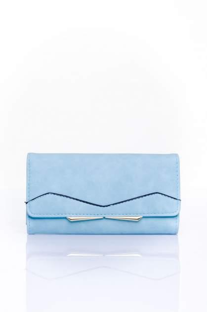 Niebieski zamszowy portfel z geometrycznym motywem                                  zdj.                                  1