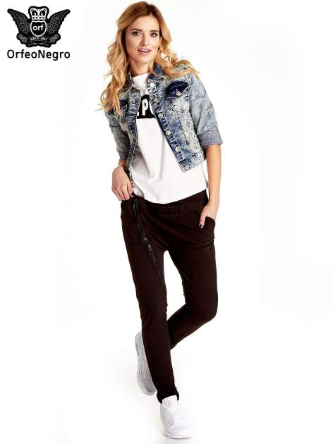 Niebieskia kurtka jeansowa damska marmurkowa z kieszeniami                                  zdj.                                  8