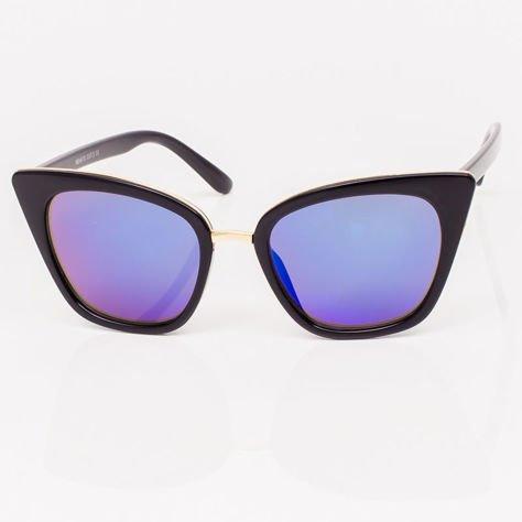 Niebieskie Lustrzane Damskie Okulary przeciwsłoneczne CAT EYE                              zdj.                              3