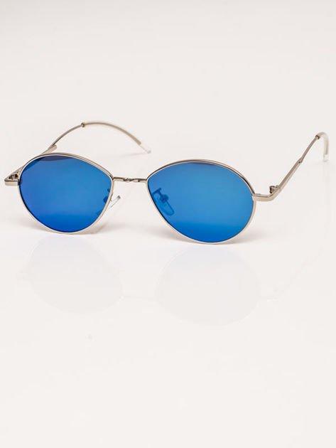 Niebieskie Lustrzane Owalne Okulary Unisex