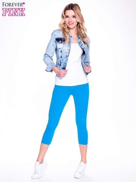 Niebieskie bawełniane legginsy 3/4                                  zdj.                                  2