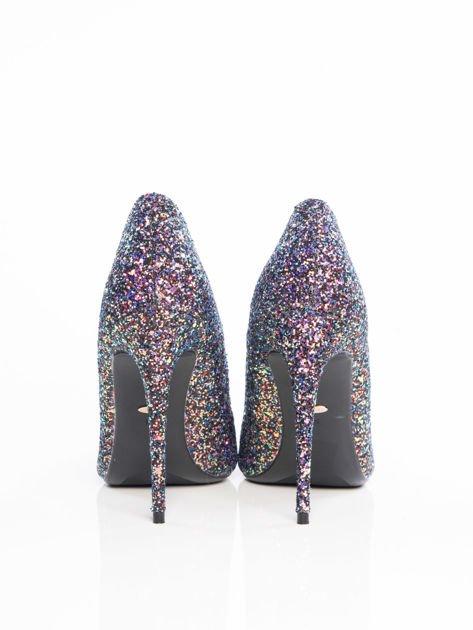 Niebieskie brokatowe szpilki glitter z różową poświatą, w szpic                              zdj.                              3