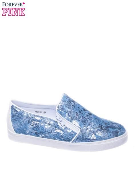 Niebieskie buty slip on Katie ze skóry węża                                  zdj.                                  1
