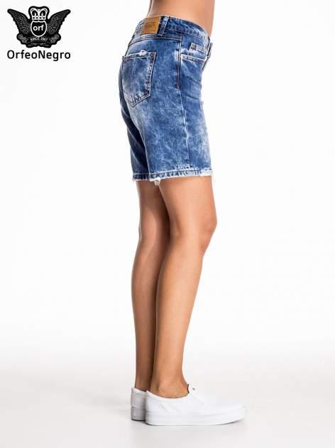 Niebieskie jeansowe szorty z dłuższą nogawką                                  zdj.                                  5