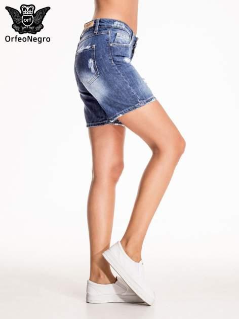 Niebieskie jeansowe szorty z przecieraną nogawką                                  zdj.                                  5