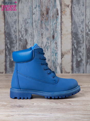 Niebieskie jednolite buty trekkingowe Westie damskie traperki ocieplane