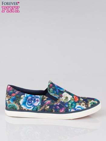 Niebieskie kwiatowe buty slipony Claireen                                  zdj.                                  1