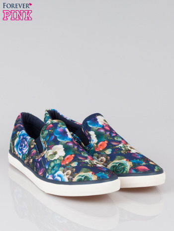 Niebieskie kwiatowe buty slipony Claireen                                  zdj.                                  2