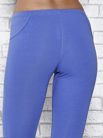 Niebieskie legginsy sportowe 7/8 z wiązaniem                                  zdj.                                  6
