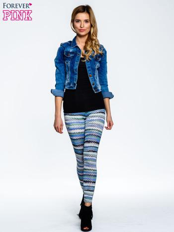 Niebieskie legginsy two tone w etniczny wzór                                  zdj.                                  2