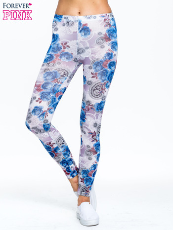 Niebieskie legginsy w kwiatki