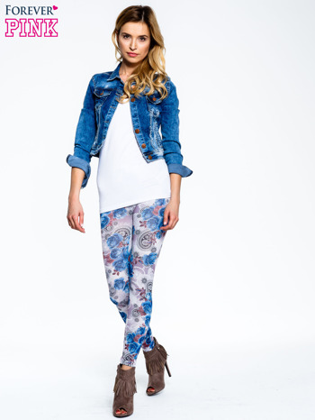 Niebieskie legginsy w kwiatki                                  zdj.                                  2
