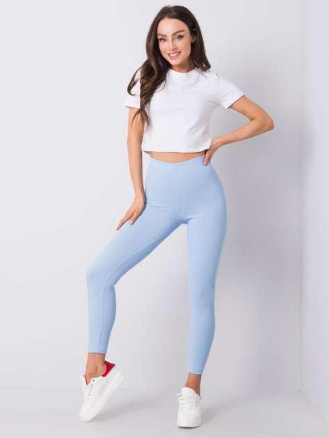 Niebieskie legginsy w prążek Dafne RUE PARIS