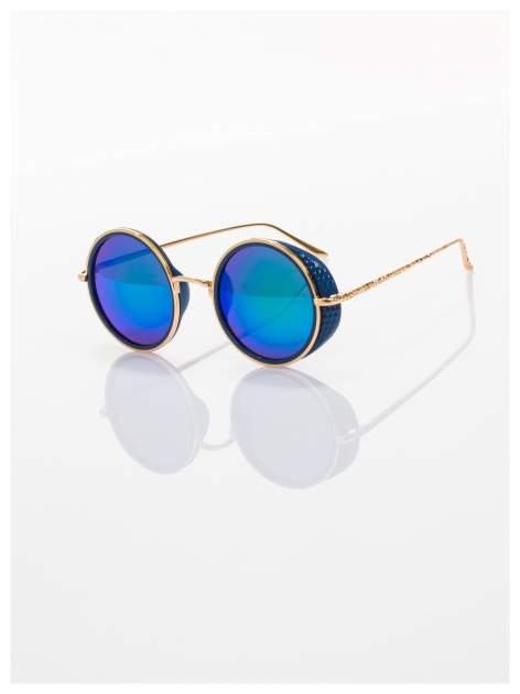 """Niebieskie lustrzanki okulary przeciwsłoneczne """"LENONKI"""" w stylu RETRO"""