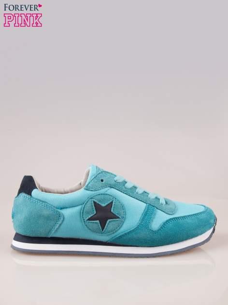 Niebieskie miejskie buty sportowe z zamszu