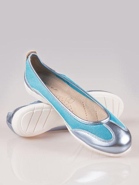 Niebieskie siateczkowe baleriny Comfort w sportowym stylu                                  zdj.                                  4