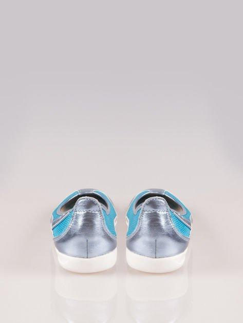 Niebieskie siateczkowe baleriny Comfort w sportowym stylu                                  zdj.                                  3