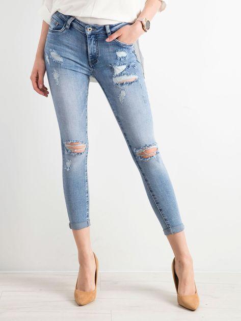 Niebieskie spodnie jeansowe damskie                              zdj.                              1