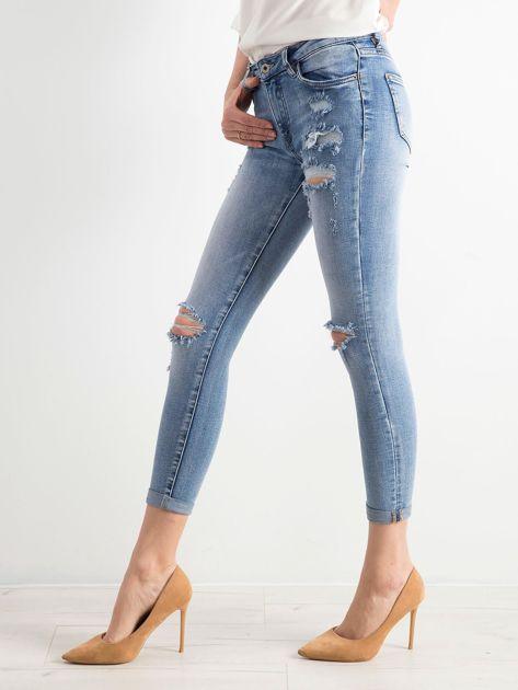 Niebieskie spodnie jeansowe damskie                              zdj.                              3